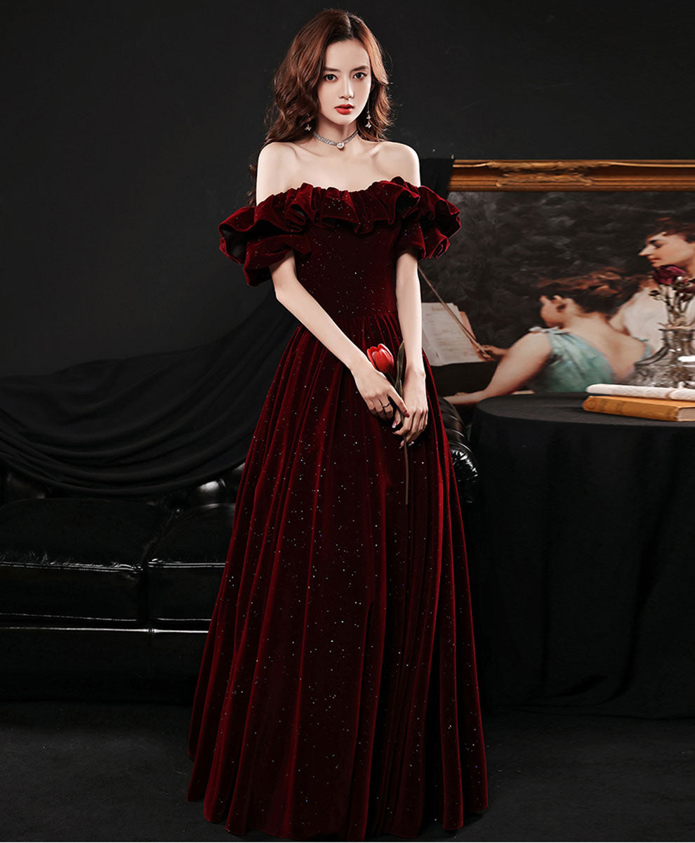 Simple burgundy Velvet long prom dress burgundy bridesmaid dress