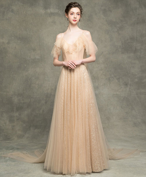Champagne v neck tulle long prom dress champagne evening dress