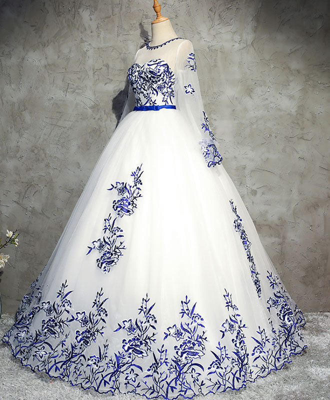 White round neck tulle lace long prom dress, white sweet 16 dress
