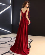 Simple burgundy long prom dress, burgundy evening dresses
