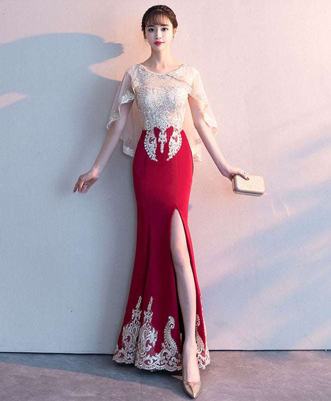 Burgundy lace mermaid long prom dress lace formal dress