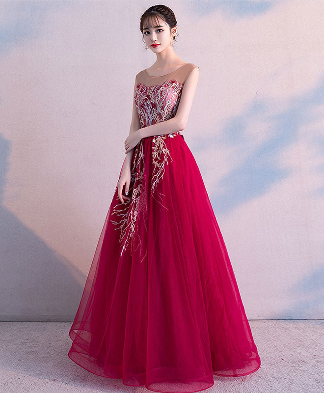 Burgundy round neck tulle lace long prom dress, burgundy evening dress