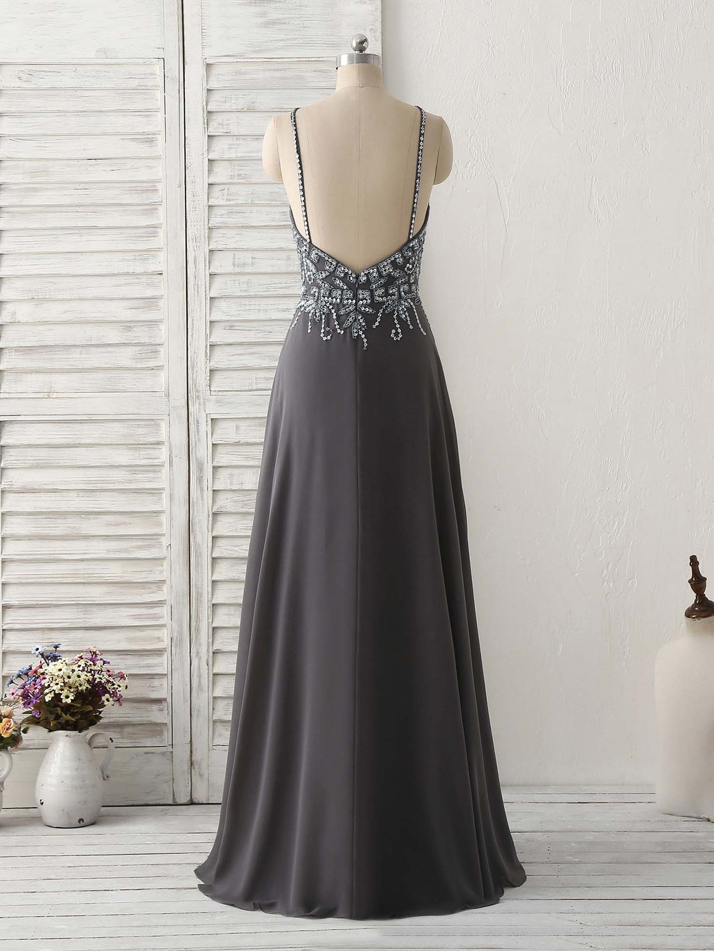 Dark gray sequin beads long prom dress backless evening dress