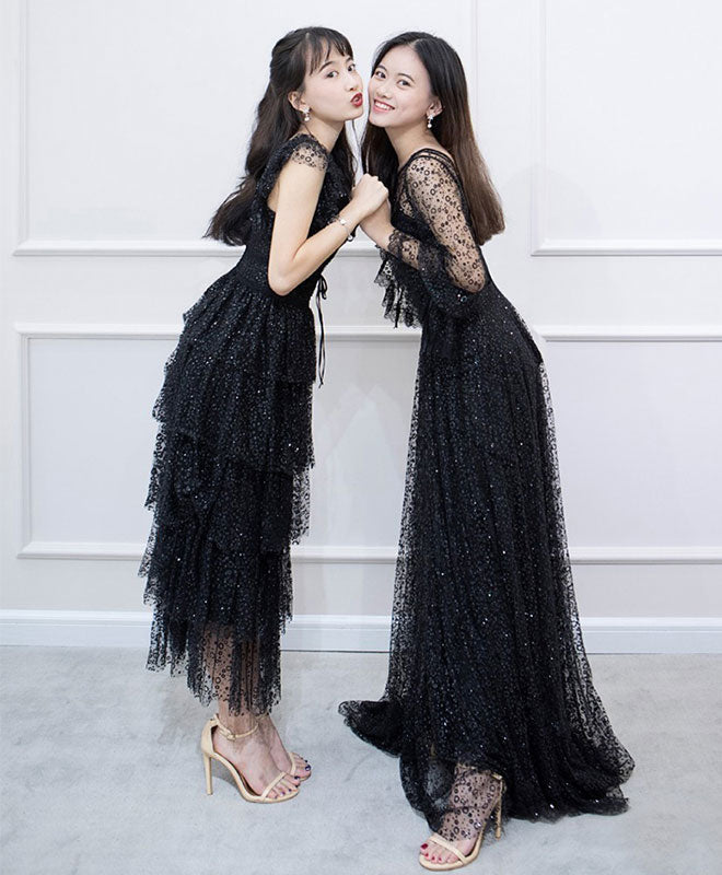 Black tulle lace long prom dress, black evening dress