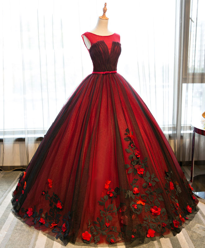 Burgundy round neck tulle lace applique long prom dress, burgundy evening dress