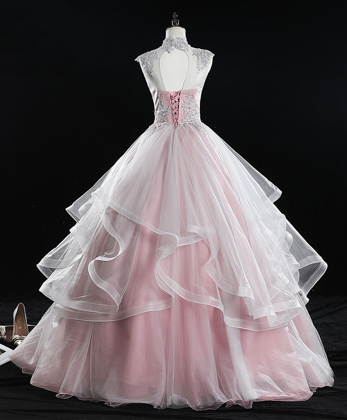 Pink high neck tulle lace long sweet 16 dress tulle lace pink prom dress