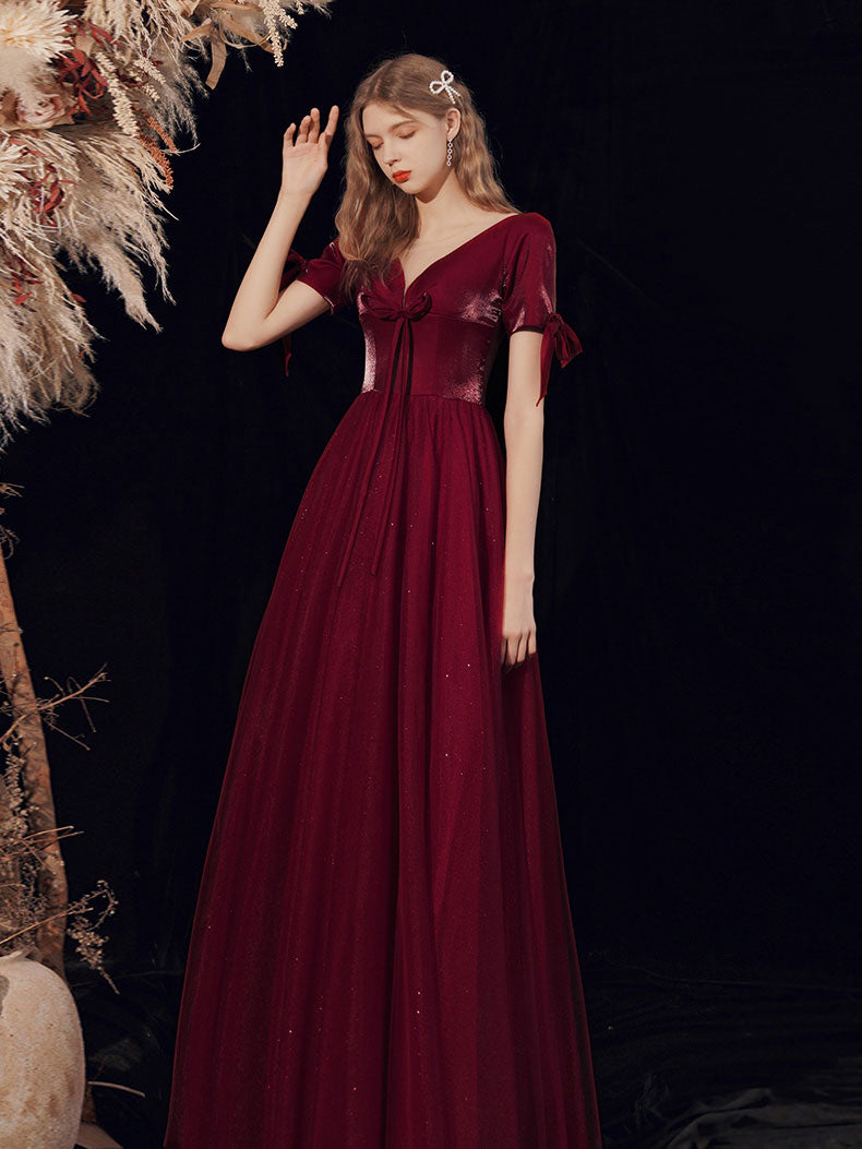 Burgundy A-line v neck tulle long prom dress burgundy evening dress