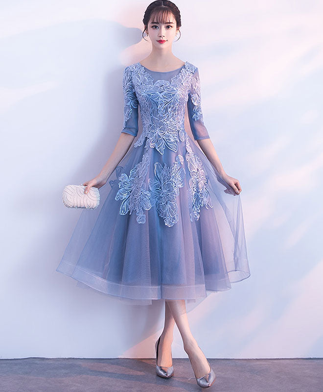 Blue round neck tulle lace short prom dress, blue homecoming dress