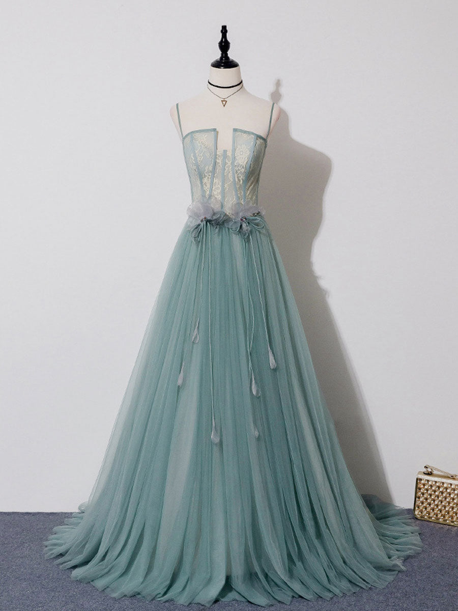 green tulle long prom dress