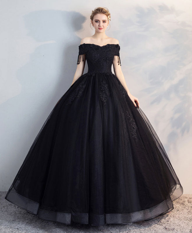 2bdc573b7e Black off shoulder lace tulle long prom dress, black evening dress