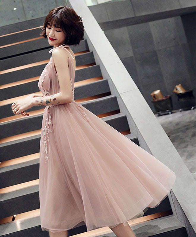 Simple pink v neck tulle short prom dress, pink homecoming dress