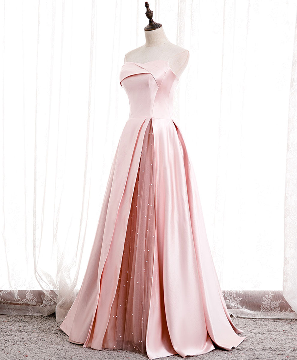 Simple pink satin long prom dress pink bridesmaid dress