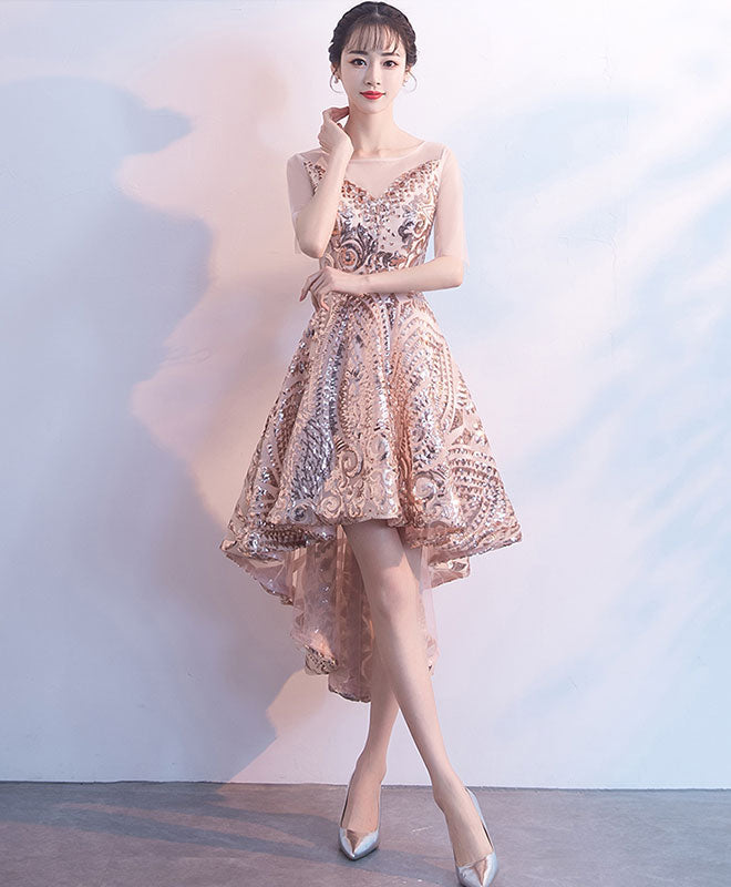 Champagne tulle sequin short prom dress. homecoming dress