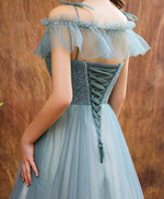 Unique tulle beads long prom dress tulle formal dress