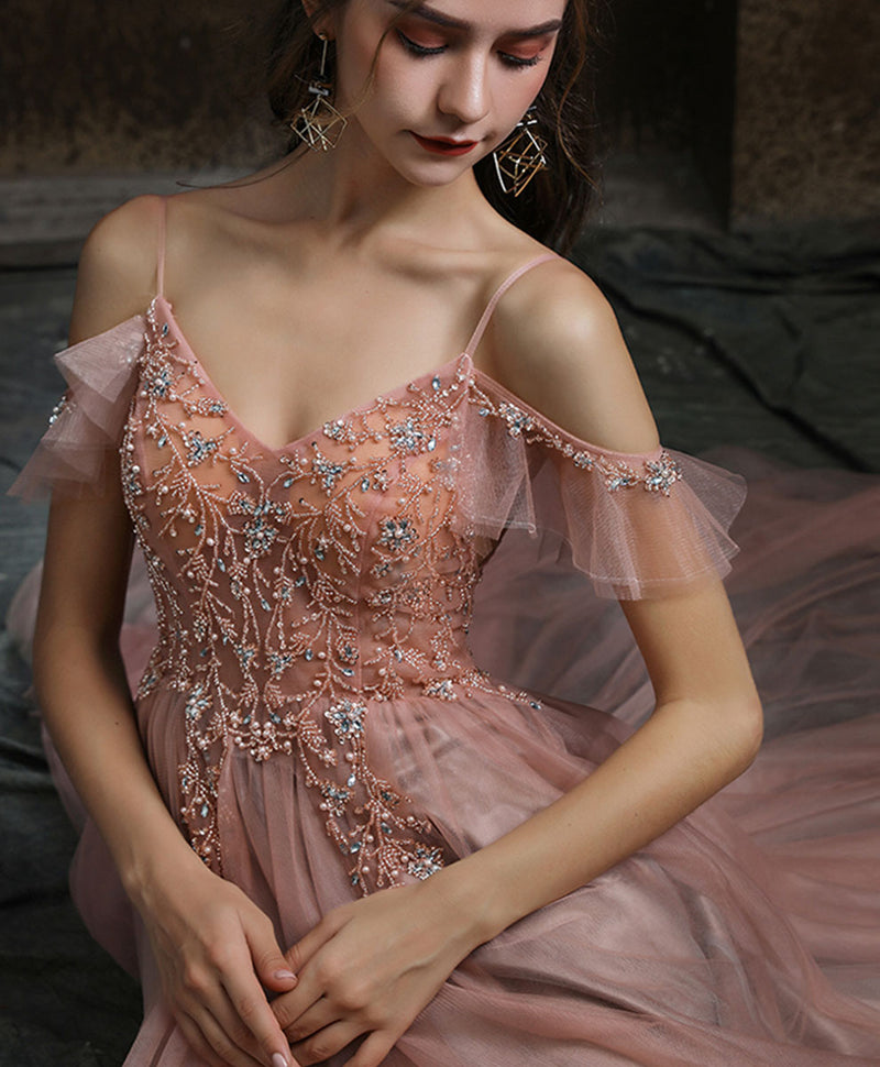 Pink v neck tulle beads long prom dress pink tulle formal dress