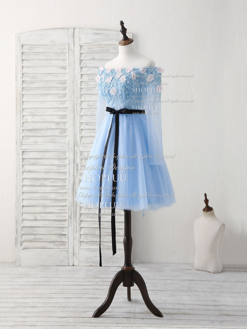 Blue tulle lace applique short prom dress, blue homecoming dress