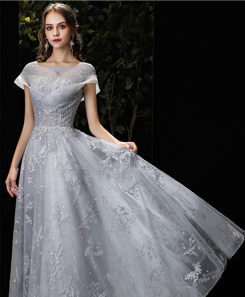 Gray round neck tulle lace long prom dress gray tulle formal dress