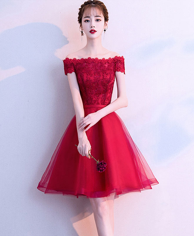 321397e583f Cute burgundy tulle lace short prom dress, burgundy homecoming dress