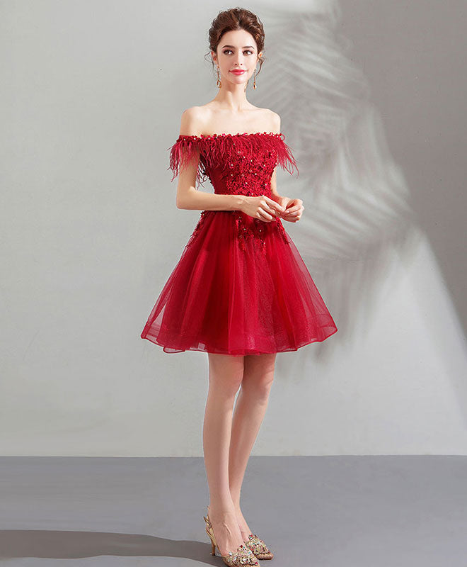 Unique burgundy tulle short prom dress, burgundy homecoming dress