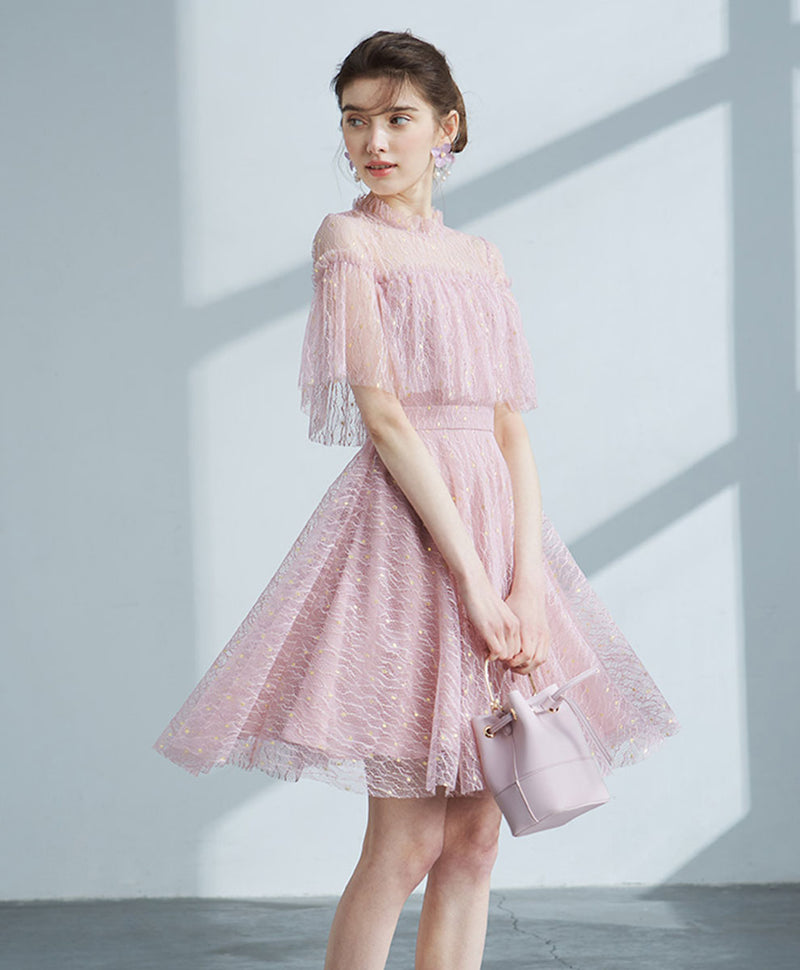 Pink tulle lace short prom dress pink lace cocktail dress