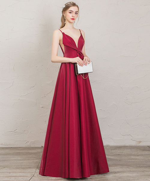 Simple v neck A line satin long prom dress red evening dress