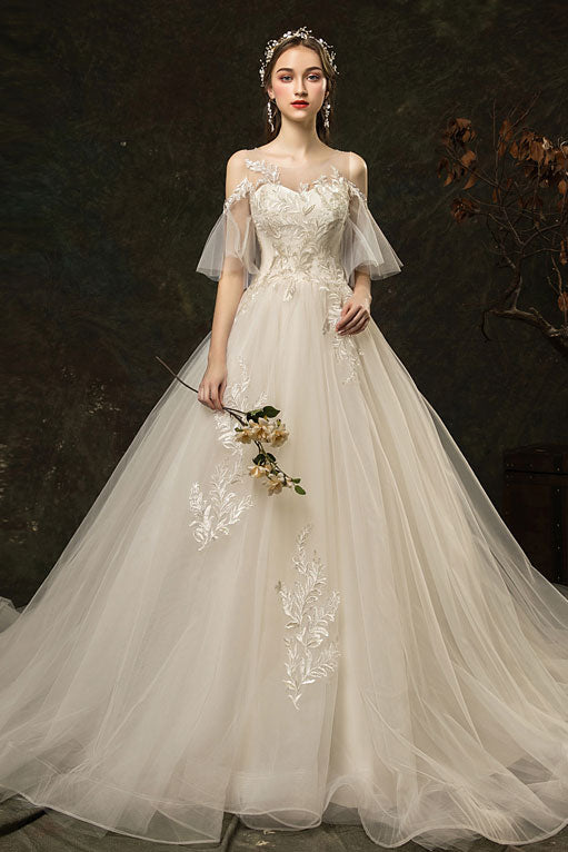 White round neck tulle lace long wedding dress, bridal dress