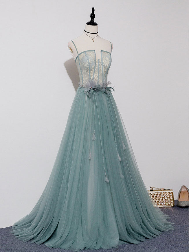 Green A-line tulle lace long prom dress green tulle formal dress