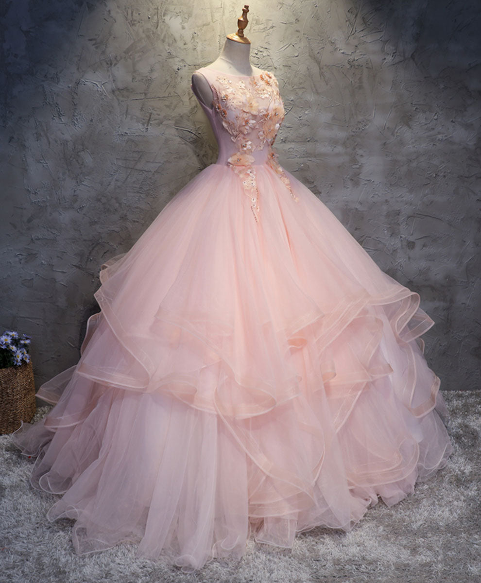 Pink round neck tulle lace long prom dress lace formal dress