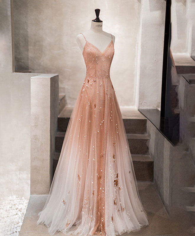 Unique pink tulle long prom dress, tulle evening dress