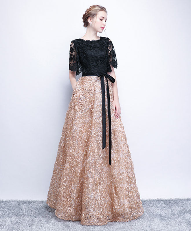 Unique black lace long prom dress, lace evening dress
