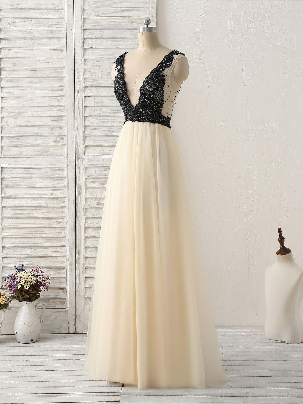 Light champagne v neck beads tulle long prom dress