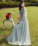 Green tulle lace long prom dress, green tulle lace bridesmaid dress