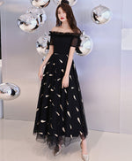 Black tulle prom dress, black tulle evening dress