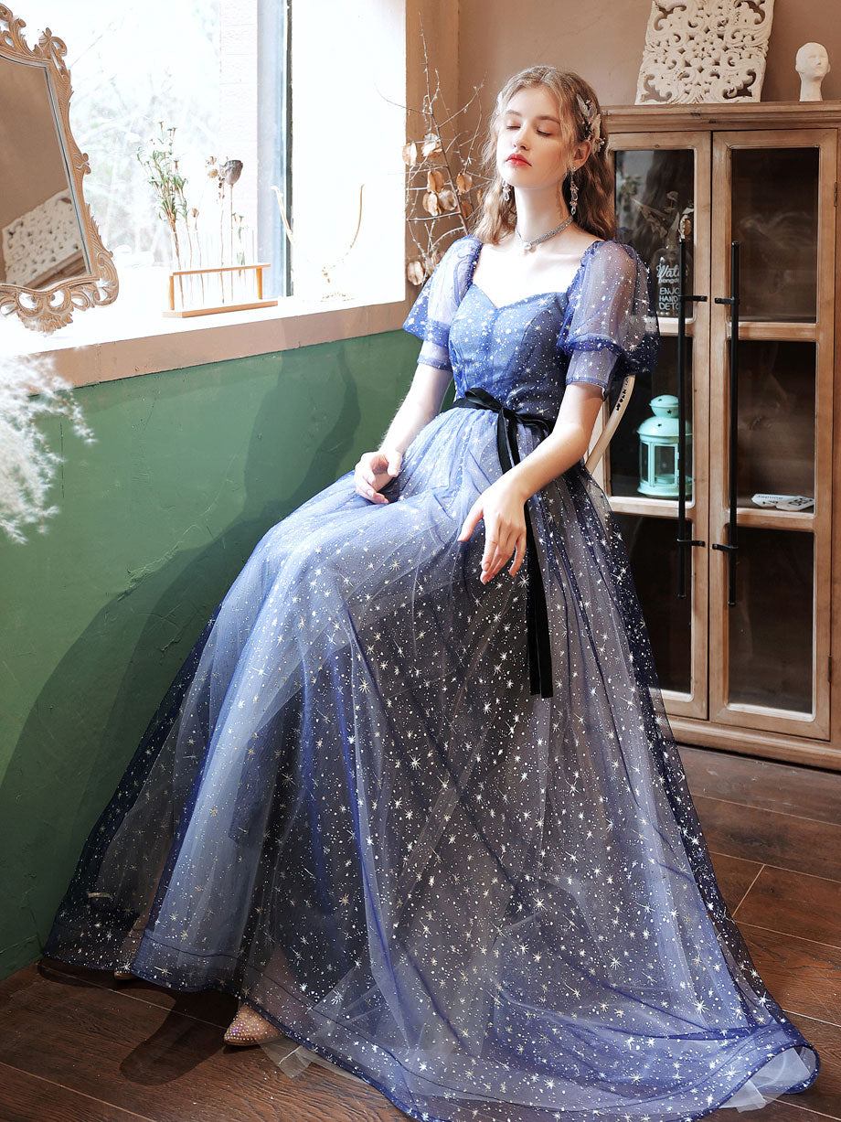 A-line tulle starry blue long prom dress blue formal dress