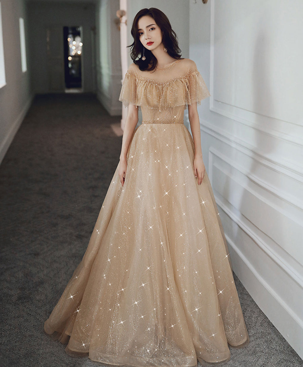Champagne round neck tulle sequin long prom dress tulle formal dress