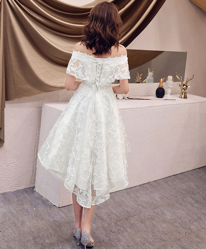 White off shoulder lace short prom dress lace homecoming dress