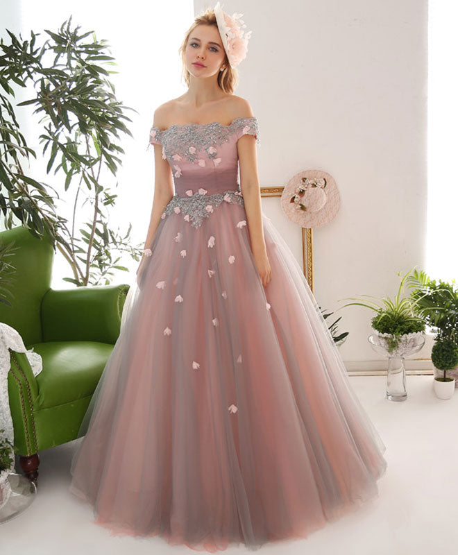 Pink tulle lace off shoulder long prom dress, pink tulle evening dress