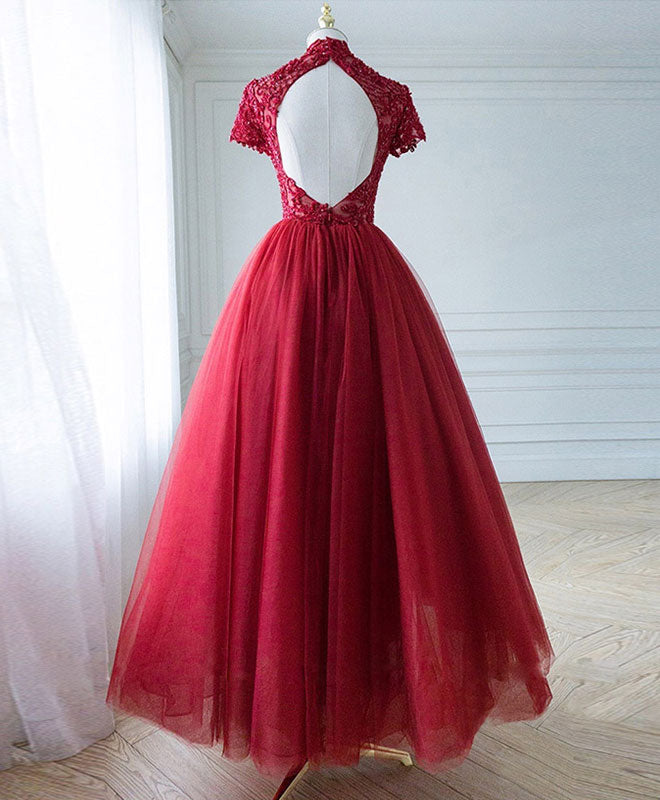 Burgundy tulle lace long prom dress, tulle lace evening dress