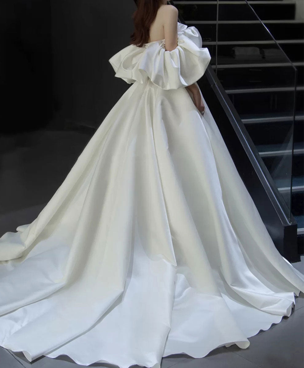 White off shoulder satin long wedding dress white bridal gown