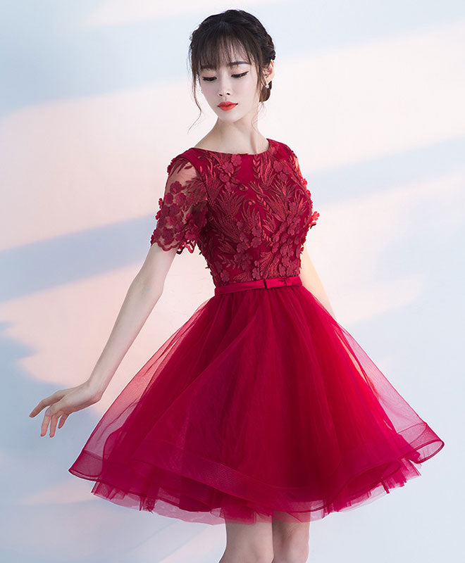 Burgundy round neck tulle lace short prom dress, burgundy homecoming dress