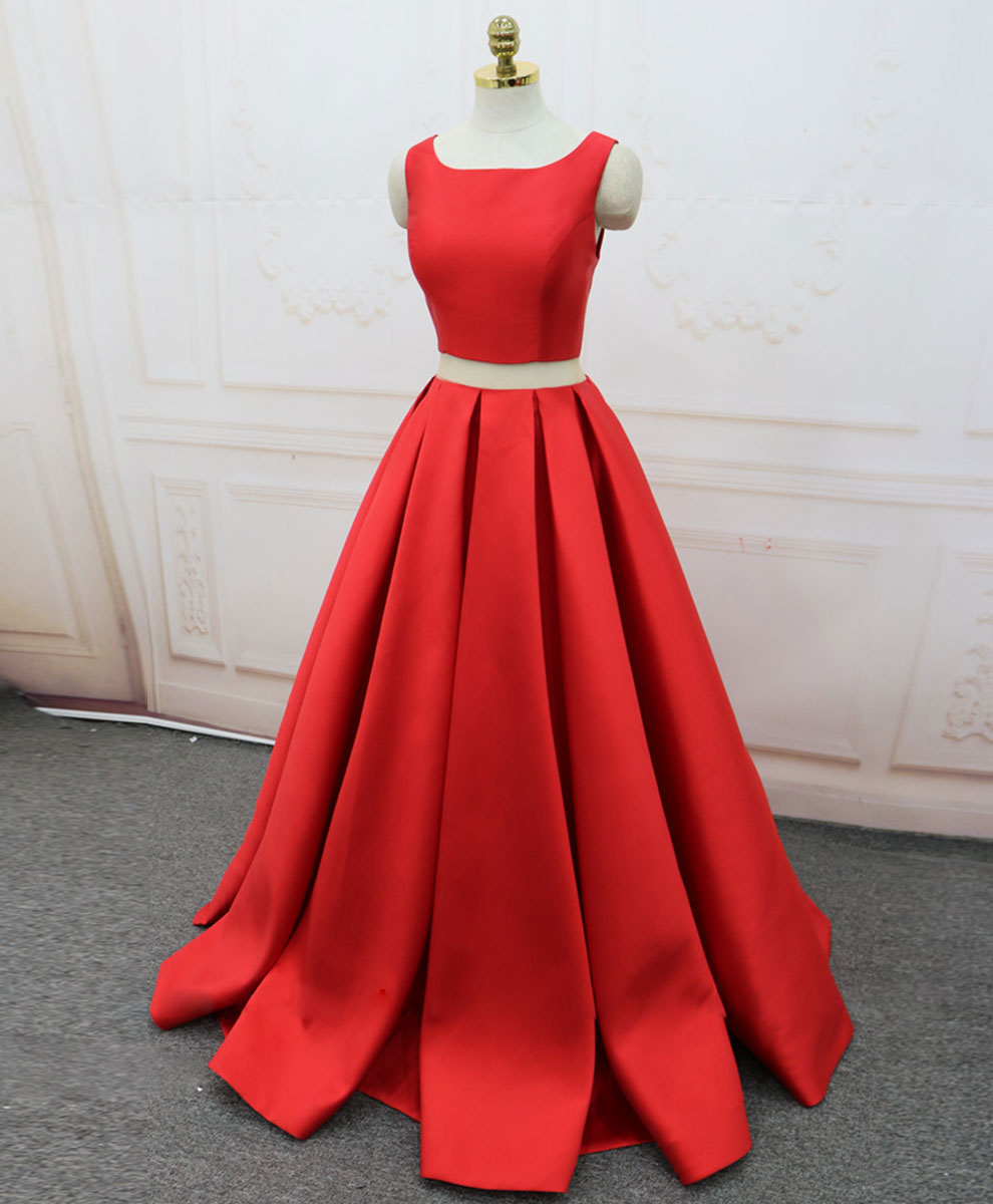 Red satin two pieces long prom dress red long evening dress