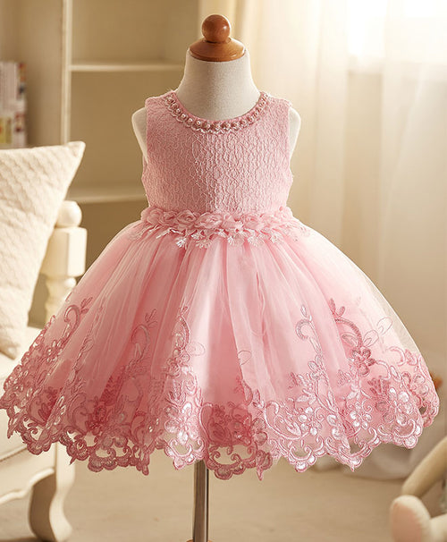 Pink lace flower girl dress, pink baby dress