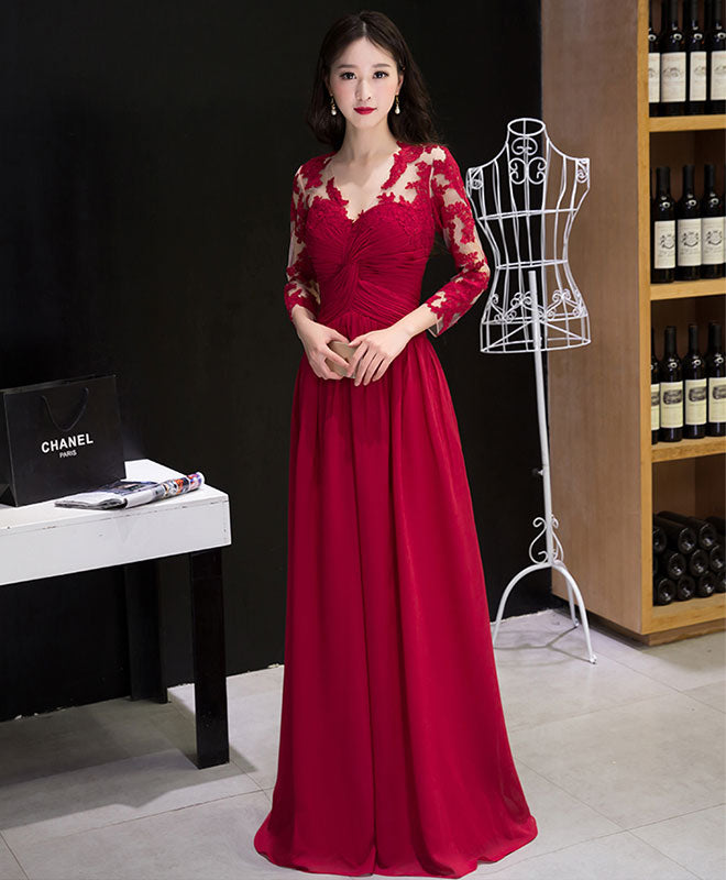 Burgundy chiffon lace long prom dress, bridesmaid dress