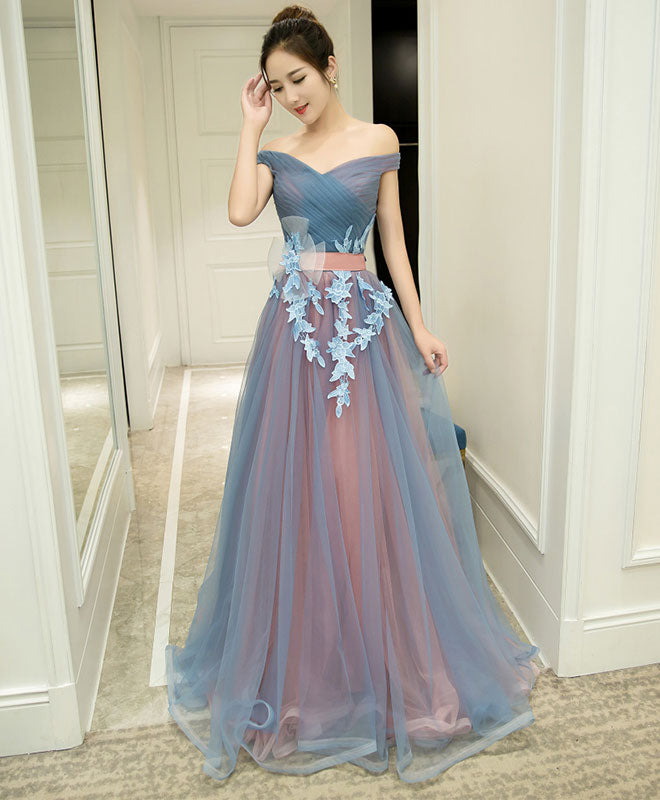 Gray blue tulle off shoulder long prom dress, gray blue evening dress