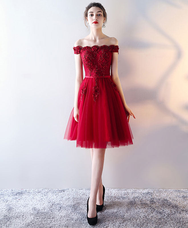 Burgundy tulle lace short prom dress, burgundy homecoming dress