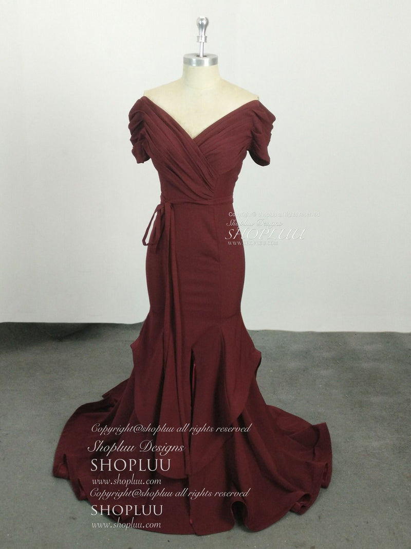 Simple burgundy chiffon mermaid long prom dress, burgundy evening dress