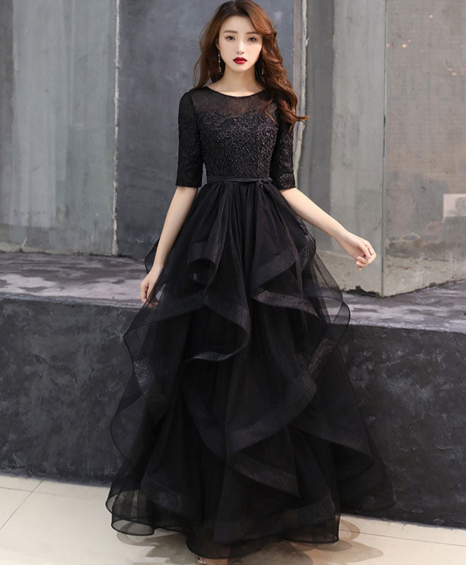 Black tulle lace long prom dress black tulle lace formal dress