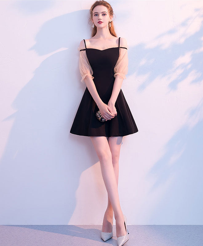 Simple black short prom dress, black homecoming dress