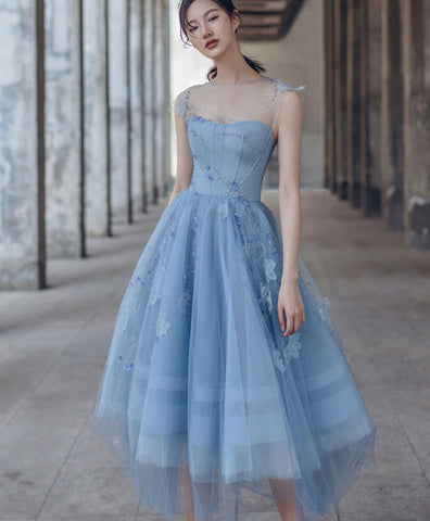 Cute round neck satin lace short prom dress lace homecoming dress
