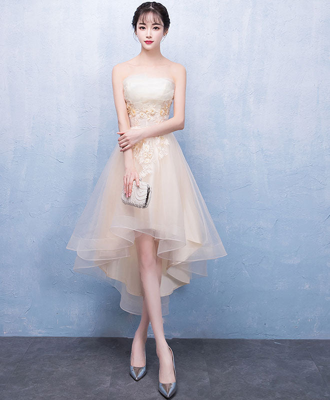 Champagne tulle lace short prom dress, champagne tulle homecoming dress